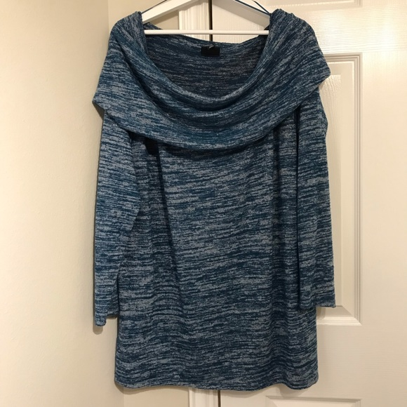 a.n.a Sweaters - ANA Teal and Gray cowl neck sweater